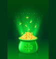 pot with full of gold coins vector image vector image