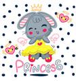 princess rabbit girl cartoon character vector image vector image
