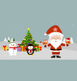 santa claus is standing at the christmas tree and vector image