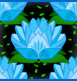 seamless pattern with flowers flowers on blue vector image