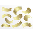 set gold brush strokes with glitter vector image