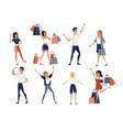 set happy people men and women wearing casual vector image vector image
