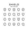 set line icons of shield vector image vector image