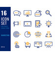 set marketing line icons vector image