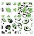 set of hand drawn seamless pattern with tropical vector image