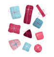 set of various christmas or birthday gifts vector image vector image
