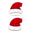 set santa hats on white background vector image vector image