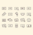 set tickets coupon flyer voucher line icons vector image