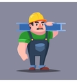 The builder in hardhat with the muscles Strong vector image