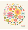 Vintage Greeting Card with Decorative Flowers and vector image vector image