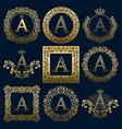vintage monograms set of a letter vector image vector image
