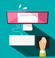 computer with keyboard hand and mouse vector image
