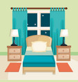 room interior with bed nightstand and lamp vector image