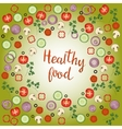 Healthy food hand drawn lettering phrase vector image