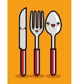 kawaii knife spoon and fork icon design vector image