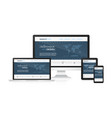 website concept in responsive design with world vector image