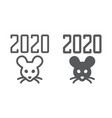 2019 rat year line and glyph icon celebration and vector image vector image