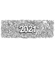 2021 doodles horizontal new year objects vector image