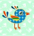 a cartoon sparrow with colorful textures vector image vector image