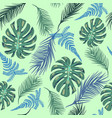 background with exotic plant leaves vector image