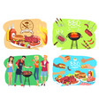 barbecue party with roasted meet set vector image vector image