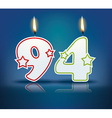Birthday candle number 94 vector image vector image