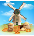 bread and mill background vector image vector image
