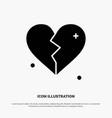 broken love heart wedding solid glyph icon vector image vector image