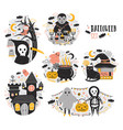 bundle of halloween scenes with funny and spooky vector image vector image