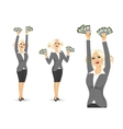 businesswoman holding money vector image vector image