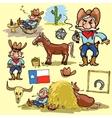 Cartoon cowboy set vector image vector image