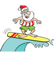 Cartoon Santa Claus riding a surfboard vector image vector image