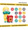 Caution Biohazard Icons and Doctor with Red vector image