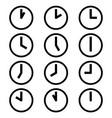 clocks hours symbols icons simple black white set vector image vector image