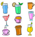 colorful various drink set doodles vector image vector image