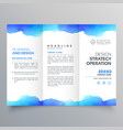 creative blue watercolor trifold brochure design vector image vector image