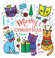 cute cat merry christmas children sketch vector image