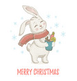 cute christmas rabbit in scarf winter animal for vector image vector image