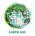 earth day poster with globe vector image