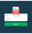 envelope e-mail flat icon with log in button vector image