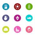 euroway icons set flat style vector image vector image