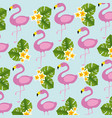 exotic flamingos birds and flowers pattern vector image