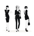 fashion woman silhouettes in black and white vector image vector image