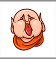 fat buddha face with stuck out tongue vector image