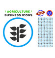 flora plant rounded icon with set vector image