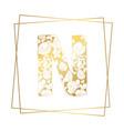 golden ornamental alphabet letter n font on white