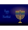 Hanukkah menorah with congratulation card for vector image vector image