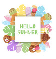 hello summer ice cream waffle cones and tropical vector image vector image