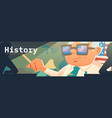 history banner with teacher and american flag vector image vector image