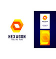 impossible hexagon logo and business card template vector image vector image